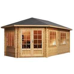 INSTALLED 5m x 3m Extended Corner Log Cabin (Single Glazing) + Free Floor & Felt & Safety Glass (44mm) - Left Door - INCLUDES INSTALLATION