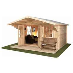 INSTALLED 4m x 3m (13 x 10) Apex Log Cabin (Double Glazing) + Free Floor & Felt & Safety Glass (34mm) - INCLUDES INSTALLATION