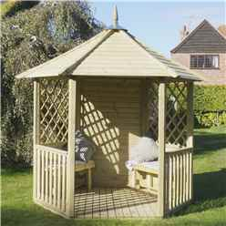 "8' 1"" x 9' 3"" Open Diagonal Pressure Treated Trellis Gazebo (2.5m x 2.8m)"