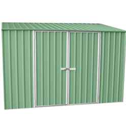 **PRE-ORDER: DUE BACK IN STOCK 13TH AUGUST**INSTALLED 10ft x 5ft Space Saver Pale Eucalyptus Metal Shed (3m x 1.52m) INCLUDES INSTALLATION