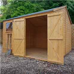 INSTALLED 10 x 10 Premium Reverse Apex Workshop With Double Doors and 1 Opening Window (12mm Tongue and Groove Floor and Roof) INCLUDES INSTALLATION