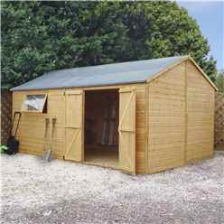 10 x 16 Premium Reverse Apex Workshop With Double Doors and 1 Opening Window (12mm Tongue and Groove Floor and Roof)