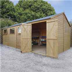 INSTALLED 10 x 20 Premium Reverse Apex Workshop With Double Doors and 3 Opening Windows (12mm Tongue and Groove Floor and Roof) INCLUDES INSTALLATION