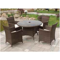 4 Seater - 5 Piece - Mocha Brown Dining Set - Free Next Working Day Delivery (Mon-Fri)