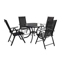 4 Seater Set - 6 Piece - Black Cayman Rounded Set with FREE Parasol - Free Next Working Day Delivery (Mon-Fri)