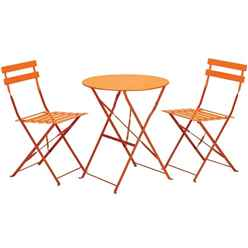 2 Seater Orange Folding Padstow Bistro Set - Free Next Working Day Delivery (Mon-Fri)