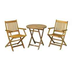 2 Seater - 3 Piece - York Bistro Set with Round Table and 2 Manhattan Folding Chairs - Free Next Working Day Delivery (Mon-Fri)