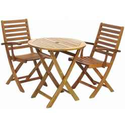 2 Seater - 3 Piece - York Bistro Set with Round Table and 2 Manhattan Folding Armchairs - Free Next Working Day Delivery (Mon-Fri)