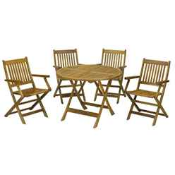 4 Seater - 5 Piece - Manhattan Dining Set with 4 Folding Armchairs + Table - Free Next Working Day Delivery (Mon-Fri)