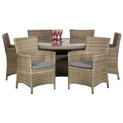 6 Seater - 7 Piece - Wentworth Round Carver Dining Set - 140cm Table with 6 Carver Chairs incl cushions - Free Next Working Day Delivery (Mon-Fri)
