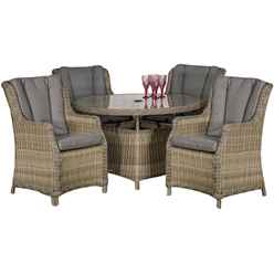 4 Seater - 5 Piece - Wentworth Round Highback Comfort Dining Set - 110cm Table with 4 Highback Comfort Chairs incl. cushions - Free Next Working Day Delivery (Mon-Fri)