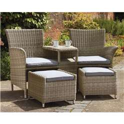 2 Seater - 3 Piece - Wentworth Fixed Companion Set - with pullout Footstools incl. cushions - Free Next Working Day Delivery (Mon-Fri)