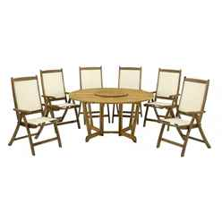 6 Seater - 8 Piece - Henley Round Dining Set with Henley Table, Lazy Susan & 6 Henley Recliner Chairs - Free Next Working Day Delivery (Mon-Fri)
