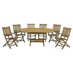 6 Seater - 7 Piece - Turnbury Dining Set with a Rectangular Extension Table & 6 Manhattan Folding Armchairs - Free Next Working Day Delivery (Mon-Fri)