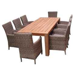 8 Seater - 9 Piece - Highclere Dining Set with Highclere FSC Teak and 8 Modena Carver Chairs - Free Next Working Day Delivery (Mon-Fri)
