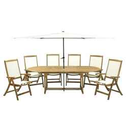 6 Seater - 8 Piece - Hampton Dining Set with Oval 2 Leaf Extension Table & 6 St Tropez Folding Armchairs & Parasol - Free Next Working Day Delivery (Mon-Fri)