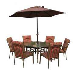 6 Seater Amalfi STRIPE Hexagonal Set with Parasol- 137 x 153cm Table with 6 Chairs - Burgundy Stripe cushions and 2.7m Parasol