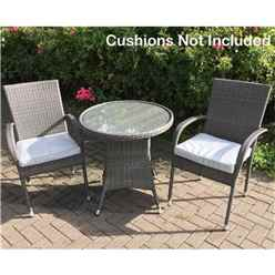 2 Seater - 3 Piece - MARLOW Bistro Set - 70cm Glass Top Table with 2 Stacking Chairs *does not include cushions
