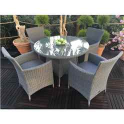 4 Seater - 5 Piece - MADISON Round Dining Set - 110cm Round Table with 4 Carver Chairs incl. cushions