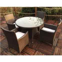 4 Seater - 5 Piece -  Naples 4 Seater Round Dining Set - 110cm Round Glass Top Table with 4 Carver Chairs incl. cushions - Free Next Working Day Delivery (Mon-Fri)