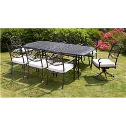 8 Seater - 9 Piece -Versailles Rectangular Swivel Set - 214 x 108cm Rectangular Table with 2 Swivel Chairs and 6 Stacking Chairs incl. cushions - Free Next Working Day Delivery (Mon-Fri) - New