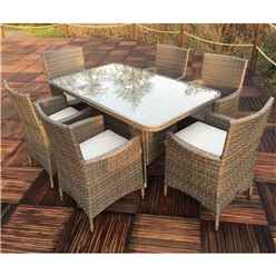 6 Seater - 7 Piece - MARLOW Rectangular Dining Set - 150 x 90cm Glass Top Table with 6  Carver Chairs incl. cushions