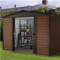 9 4 X 11 11 Woodgrain Metal Shed + Free Anchor Kit  (3.03m X 3.79m)