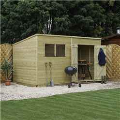 INSTALLED 14 x 8 Warwick Shiplap Pressure Treated Pent Shed - INCLUDES INSTALLATION
