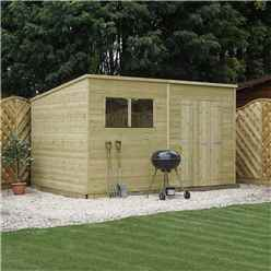 INSTALLED 12 x 6 Warwick Shiplap Pressure Treated Pent Shed - INCLUDES INSTALLATION