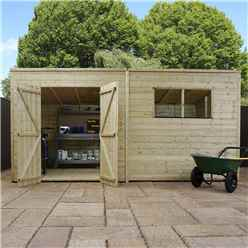 INSTALLED 14 x 6 Warwick Shiplap Pressure Treated Pent Shed - INCLUDES INSTALLATION