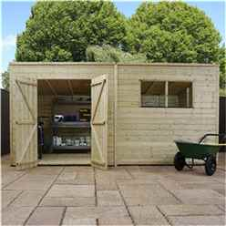 INSTALLED 14 x 5 Warwick Shiplap Pressure Treated Pent Shed - INCLUDES INSTALLATION