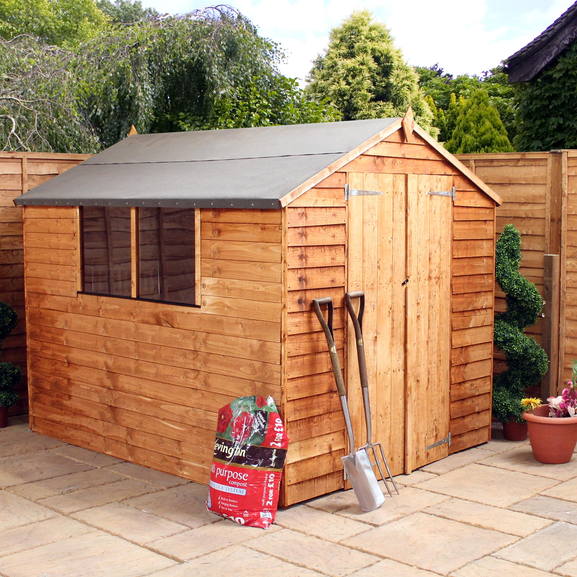 8 X 6 Buckingham Overlap Apex Shed With Double Doors + 2