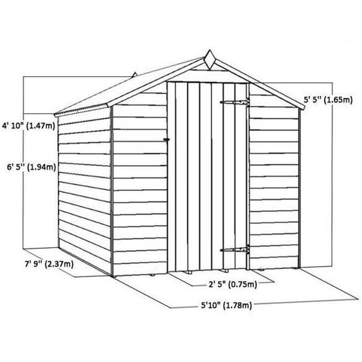 Garden Sheds 2 5 X 1 5 flash reduction** 8ft x 6ft overlap apex shed with single door + 2