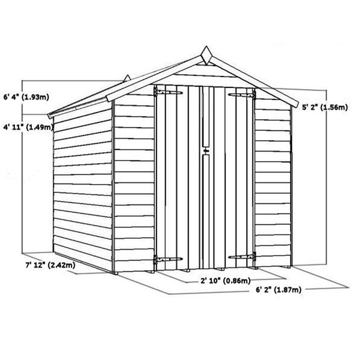 Flash reduction 8 x 6 overlap apex shed with double for Garden shed sizes