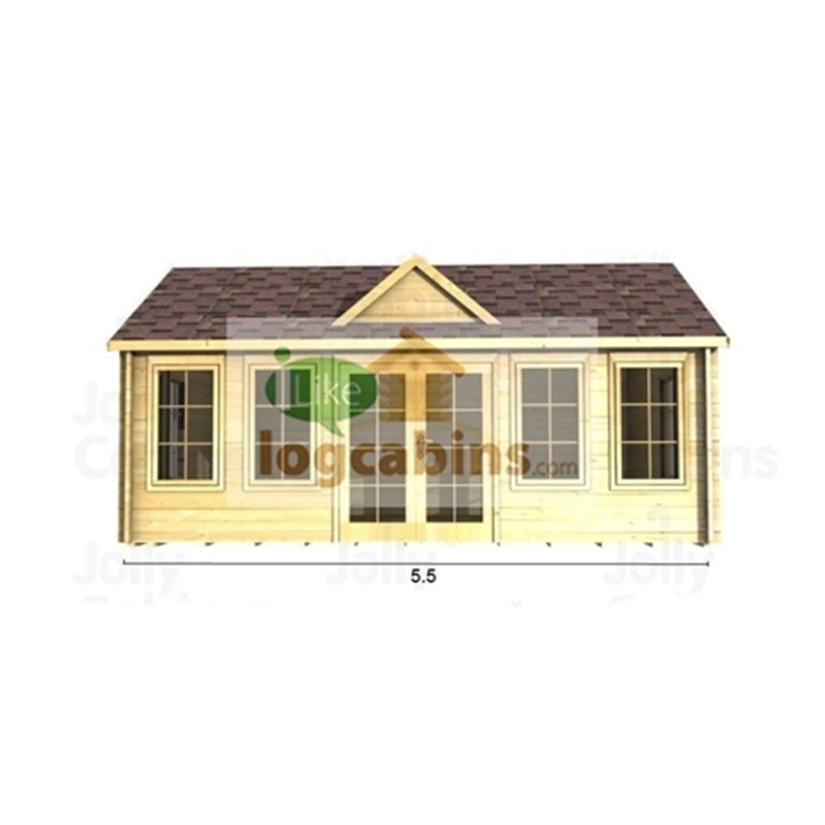 5.5m X 3.5m (18 X 12) Apex Reverse Log Cabin (2114