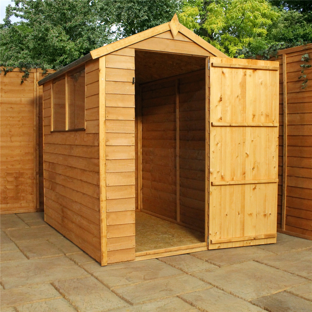 6 X 4 (1.79m X 1.31m) Overlap Apex Shed With Single Door