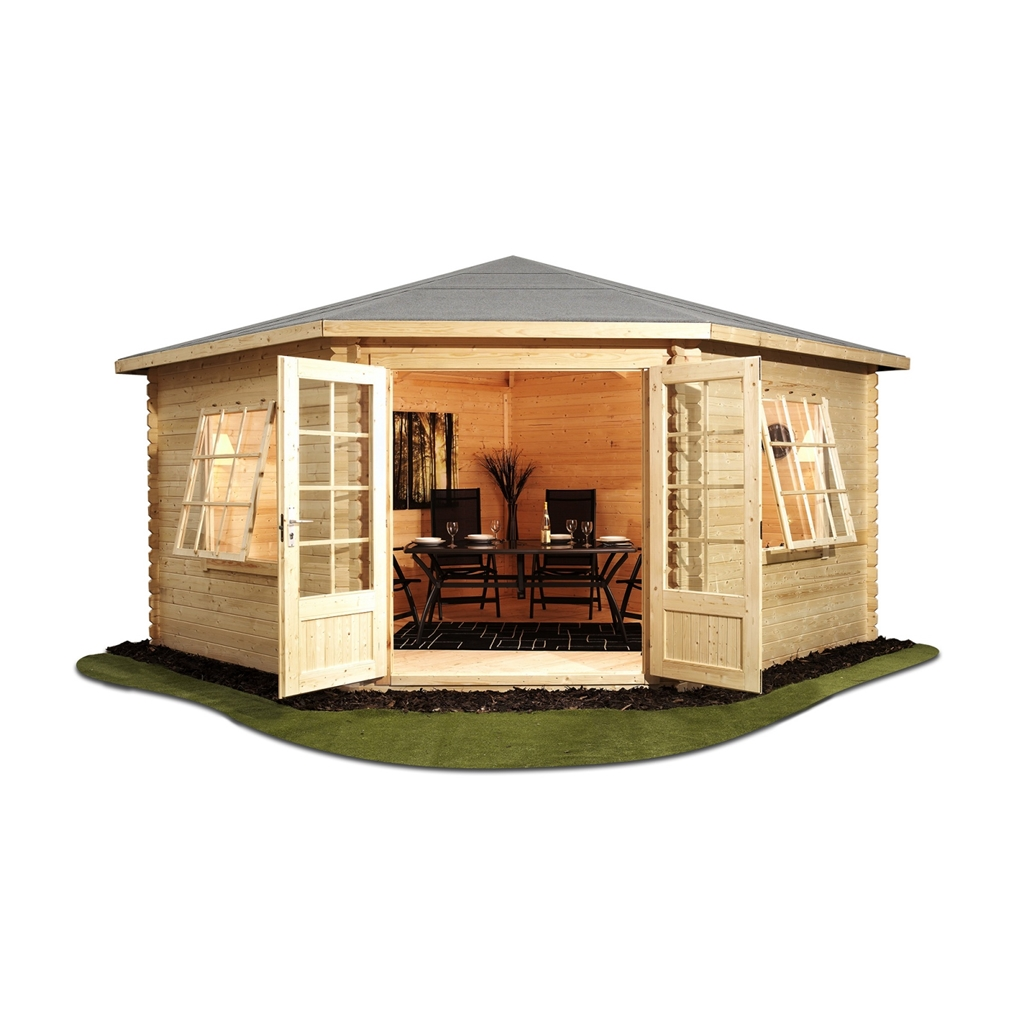 4m X 4m Corner Log Cabin Single Glazing With Large