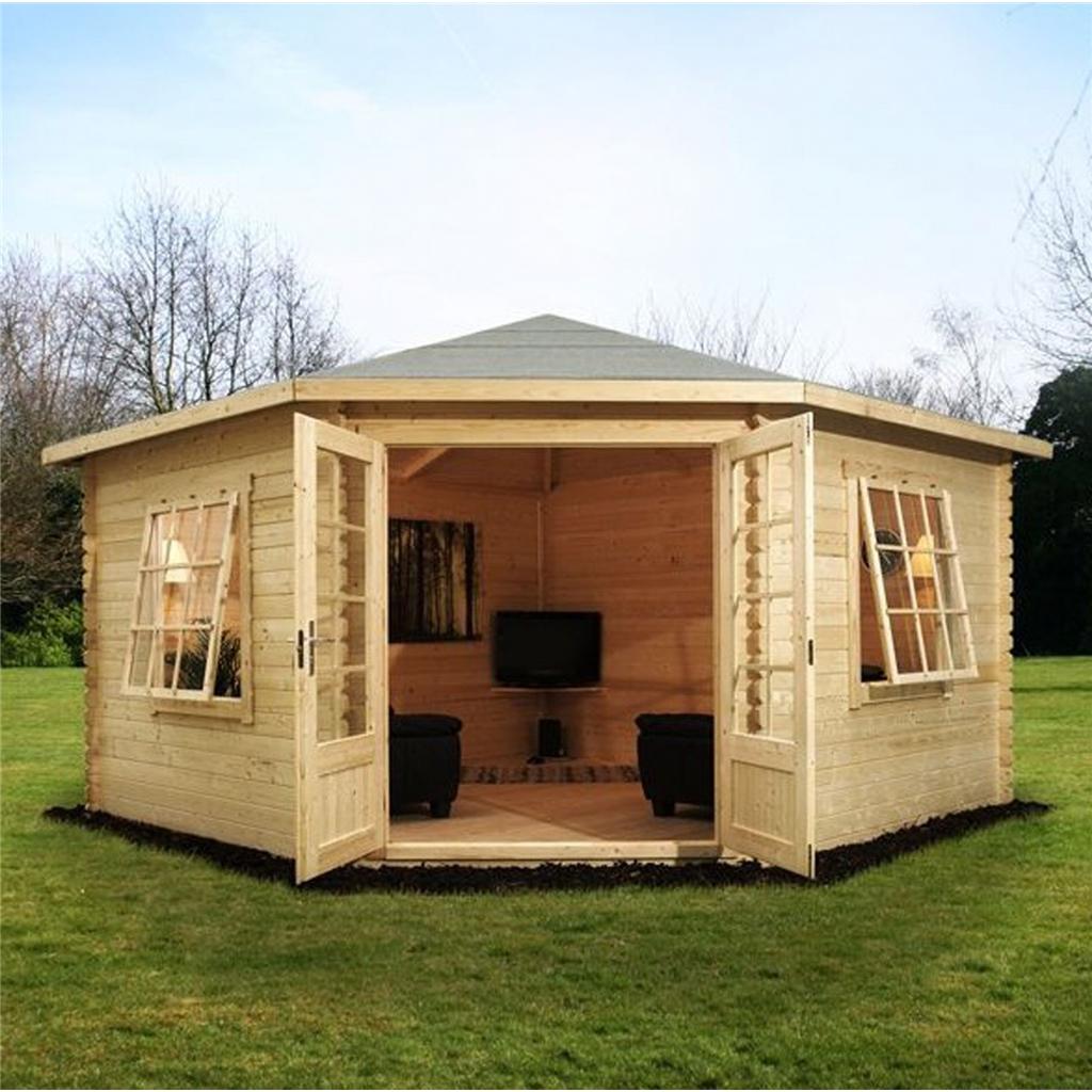 4m X 4m Corner Log Cabin Single Glazing With Large