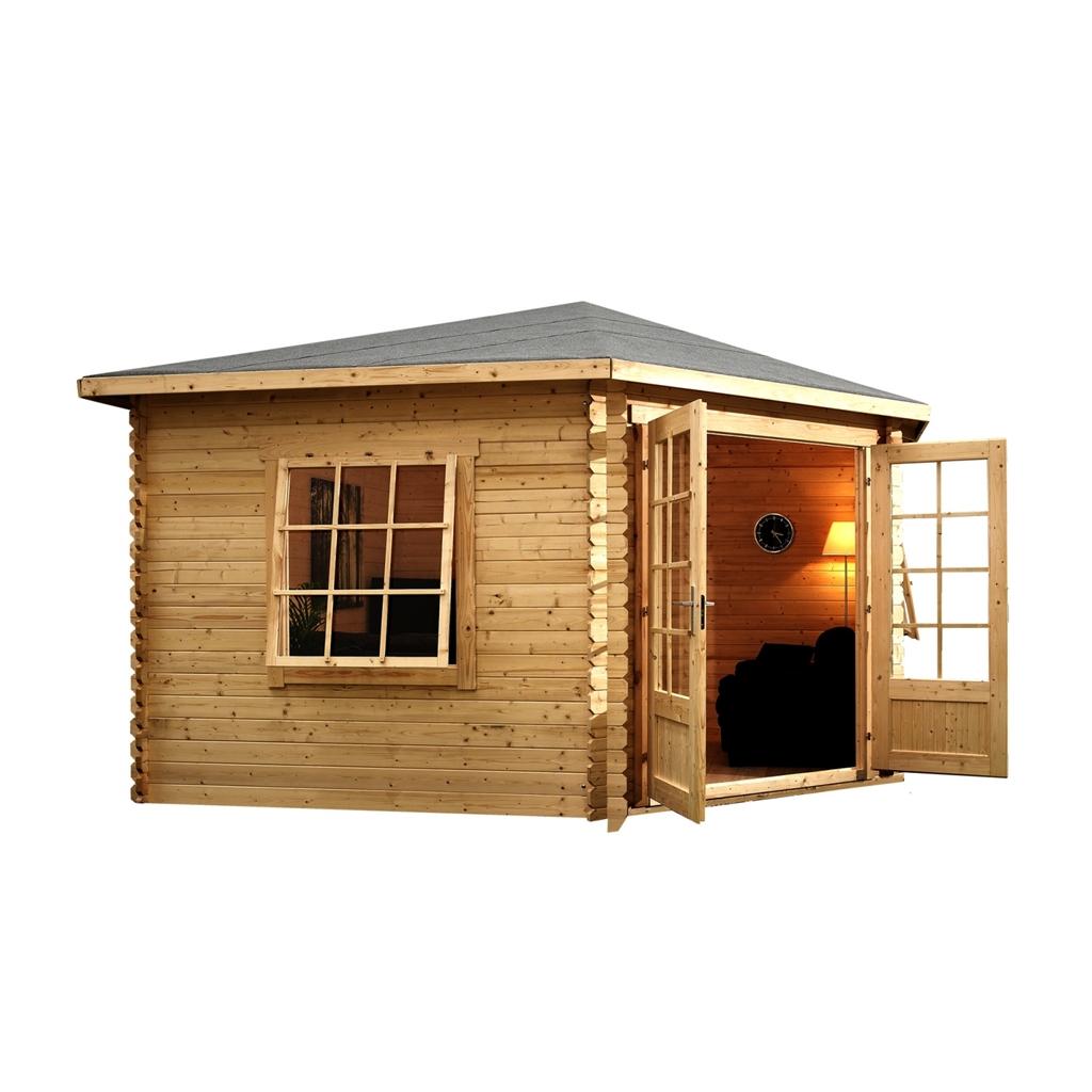 4m x 4m corner log cabin single glazing with large. Black Bedroom Furniture Sets. Home Design Ideas