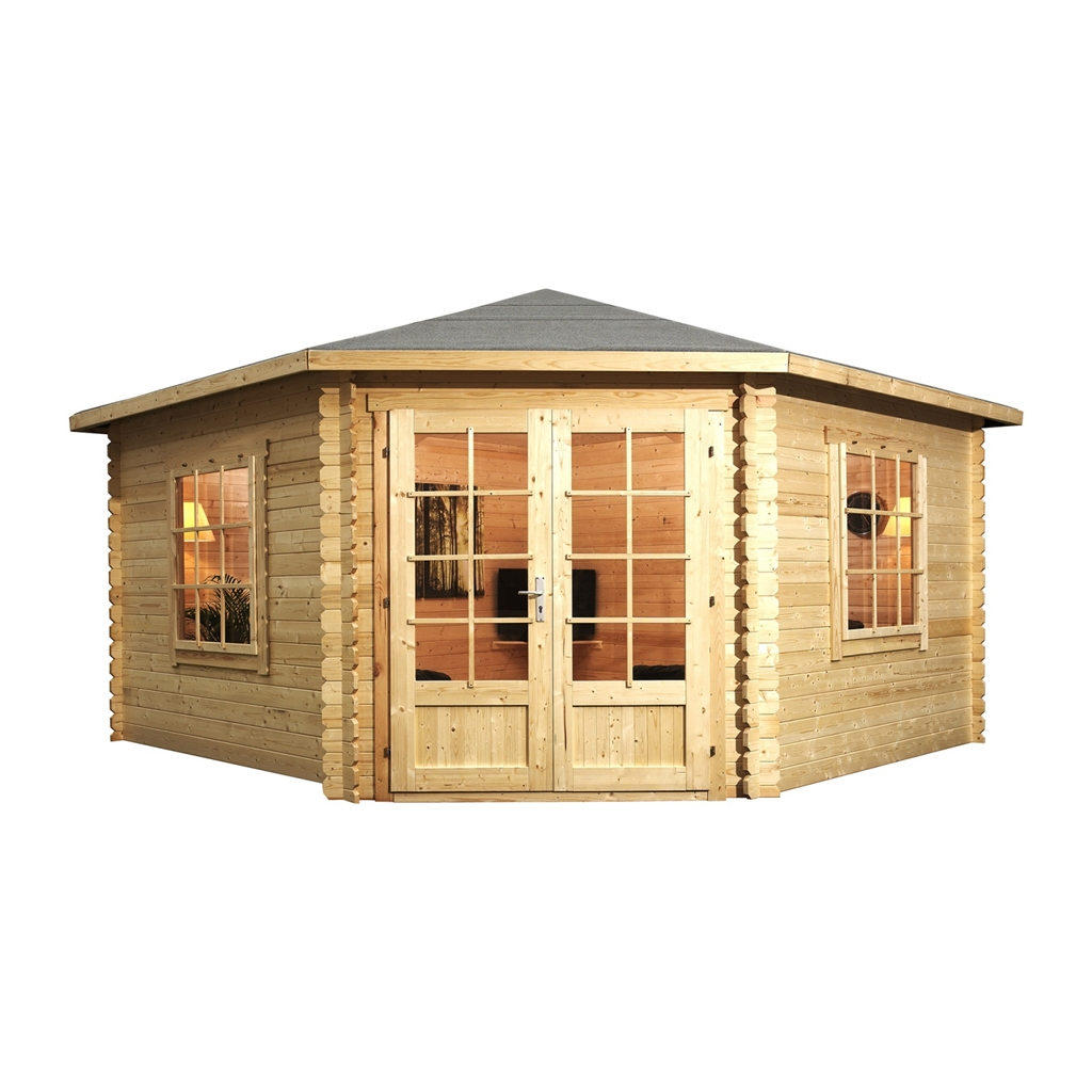 4m x 4m corner log cabin double glazing with large for Windows for log cabins