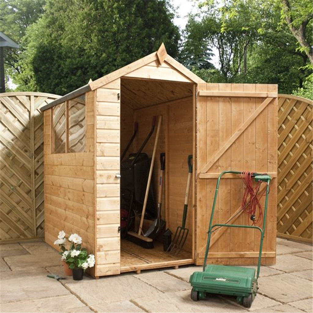 6 x 4 tongue and groove apex shed with single door 2 for Two floor shed