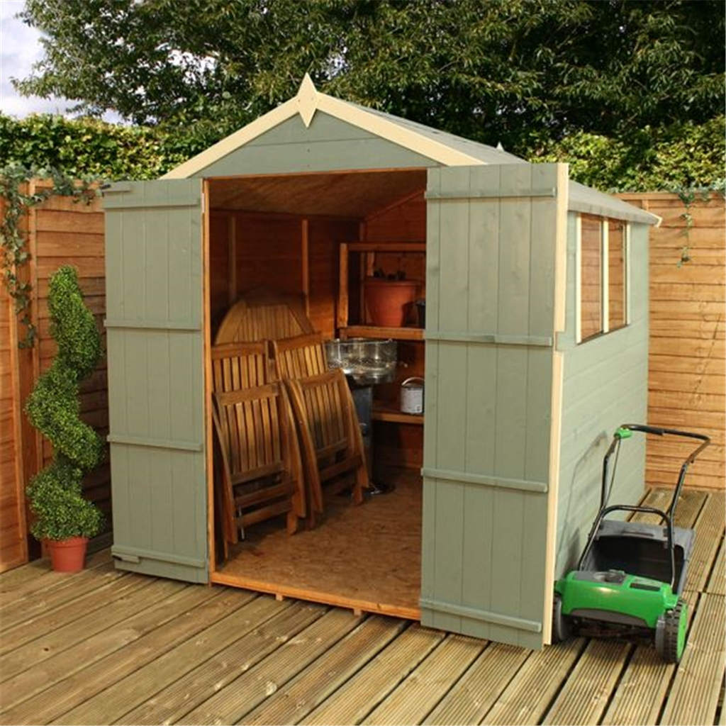 8 X 6 Tongue And Groove Apex Shed With Double Doors 2