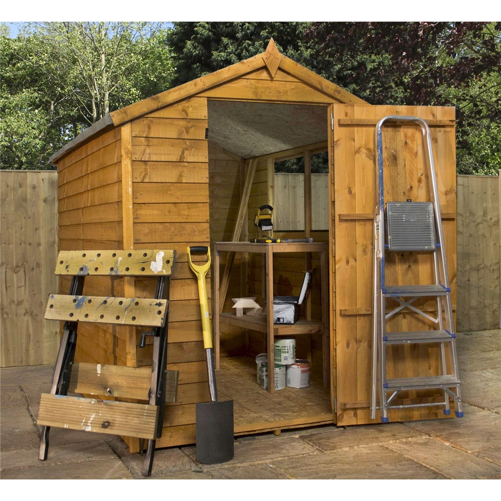 7 x 5 buckingham overlap apex shed with single door 2 for Two floor shed