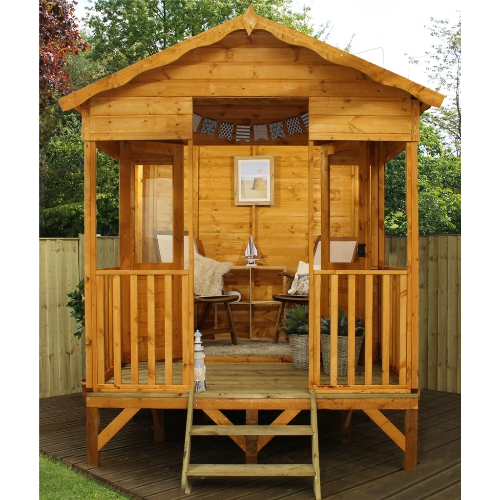 8 x 10 beach hut summerhouse 12mm tongue and groove floor for Storage huts for garden