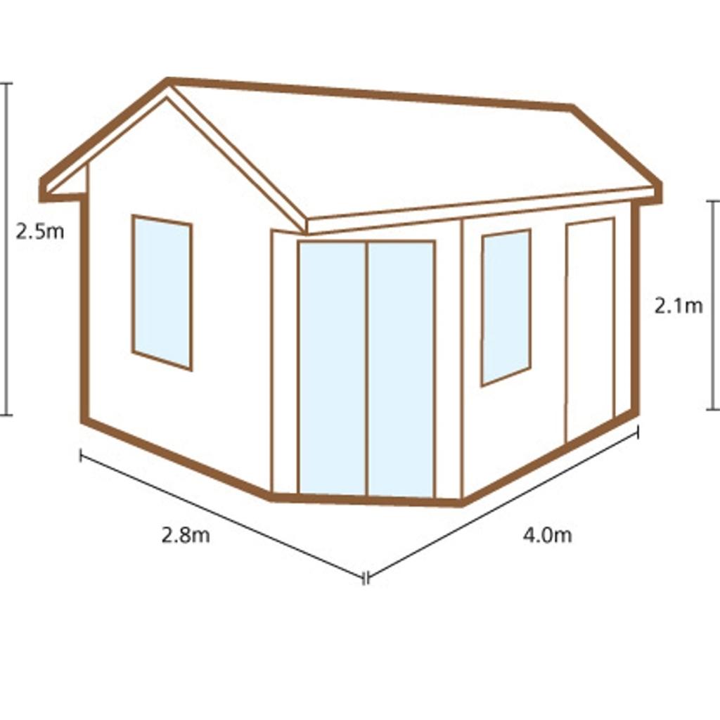 4 0m X 2 8m Corner Apex Log Cabin Double Glazing 34mm