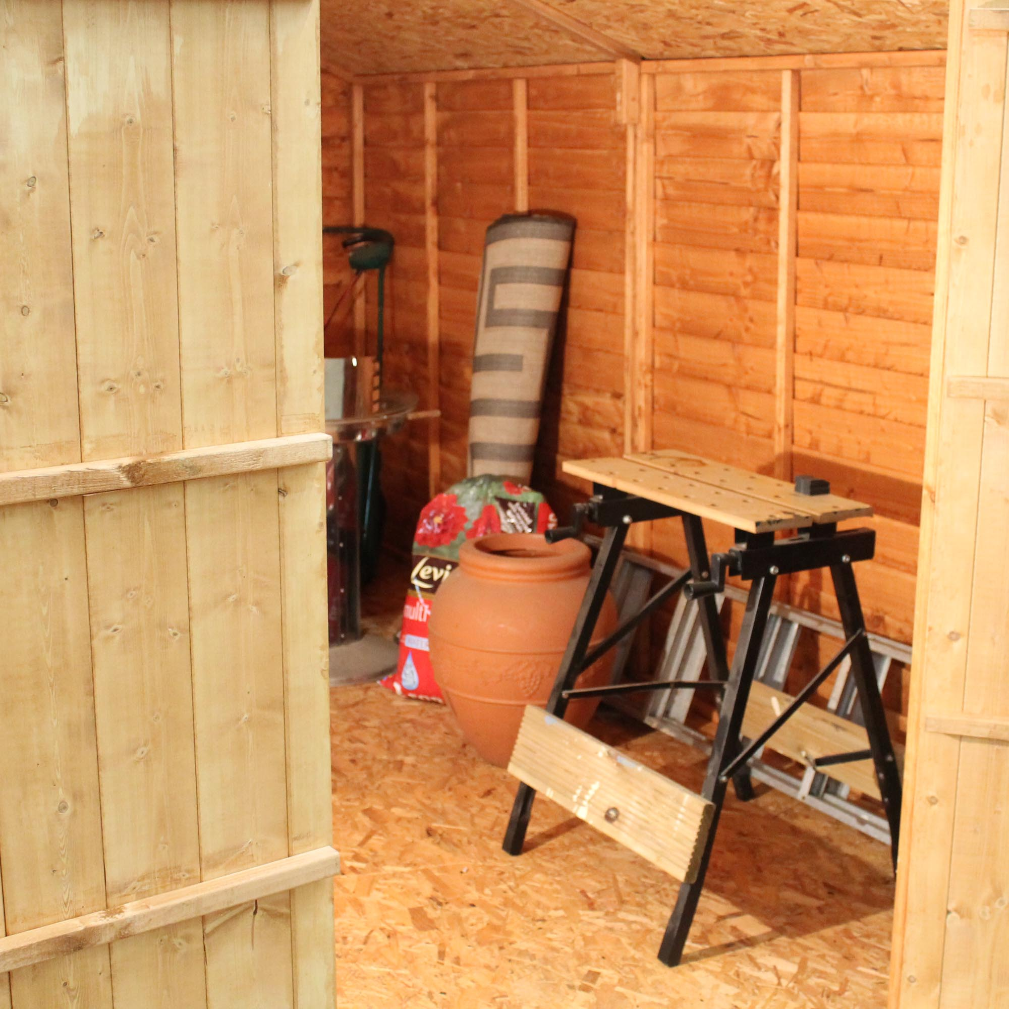 INSTALLED 12 X 8 Overlap Apex Shed With Double Doors + 4