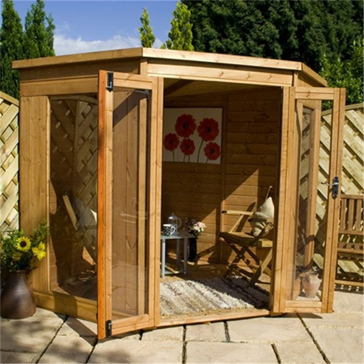INSTALLED 7 x 7 Premier Solis Corner Summerhouse (12mm ...