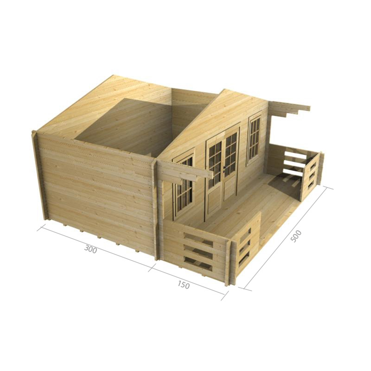 5m X 3m 16 X 10 Apex Log Cabin 2087 Double Glazing