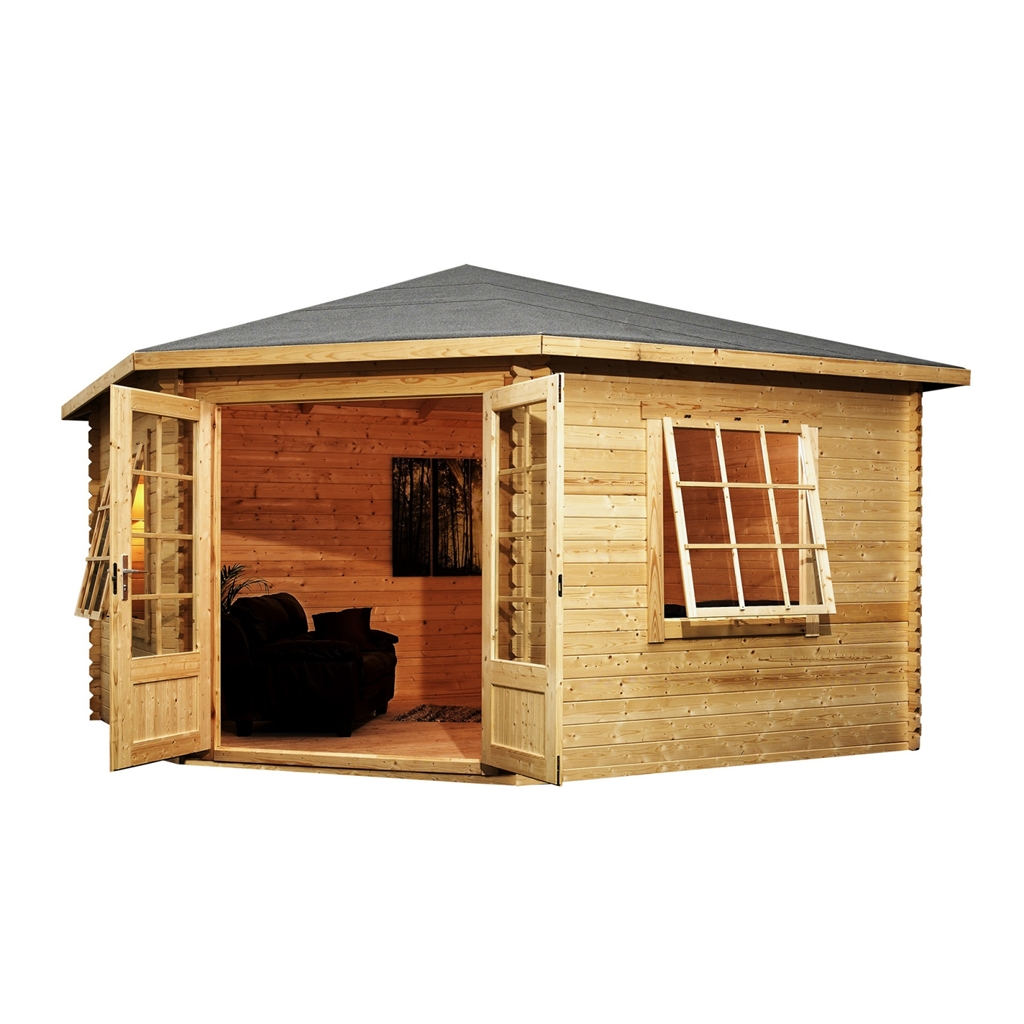 Installed 4m x 4m corner log cabin double glazing with for Windows for log cabins