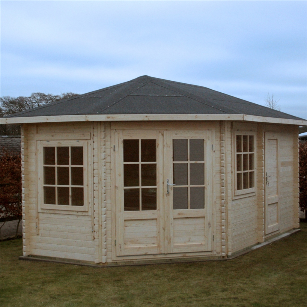 installed 5m x 3m corner log cabin double glazing free. Black Bedroom Furniture Sets. Home Design Ideas